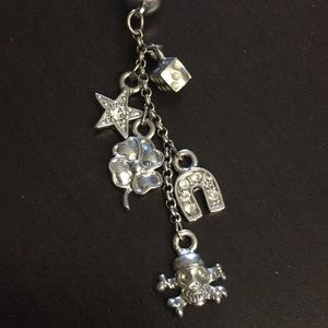 Jewelry - Long Dangle Belly Button Ring, Luck & Life Charms